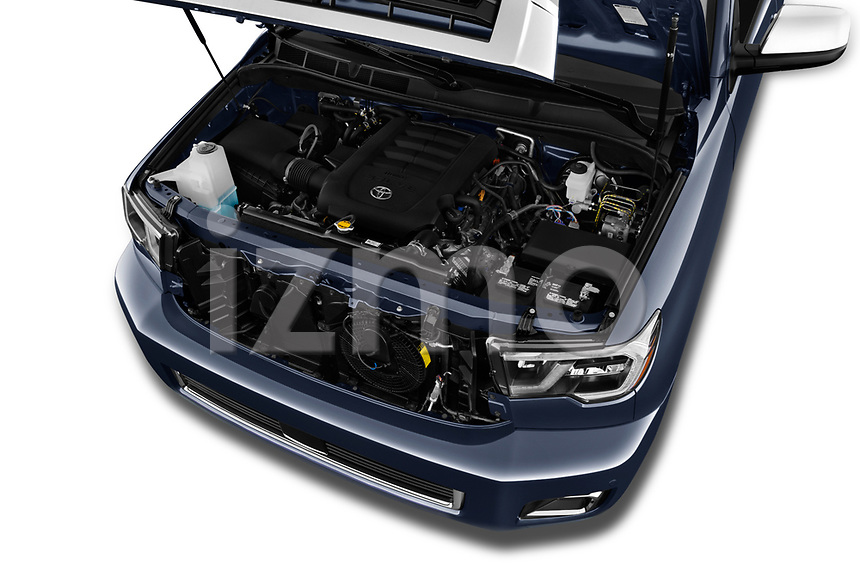 Car stock 2018 Toyota sequoia trd sport 5 Door SUV engine high angle detail view