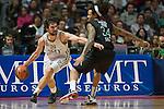 SERGIO LLULL defendido por DAVID MOSS. REAL MADRID - MONTEPASCHI SIENA. Euroleague 2012. 25 Enero,Palacio de los Deportes.