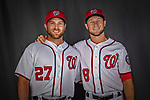 22 February 2019: Washington Nationals brothers Spencer Kieboom (left) and Carter Kieboom pose for their Photo Day portrait at the Ballpark of the Palm Beaches in West Palm Beach, Florida. Mandatory Credit: Ed Wolfstein Photo *** RAW (NEF) Image File Available ***