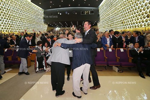 (L to R) Yoshiyuki Miyake, Saori Yoshida, Ai Shibata, Takuji Hayata, Junichi Miyashita, SEPTEMBER 8, 2013 : Supporters of Tokyo bid team celebrate after Tokyo won the bid to host the 2020 Summer Olympic and Games at The Tokyo Chamber of Commerce and Industry hall (Tosho Hall), Tokyo Japan on Sunday September 8, 2013. (Photo by Yusuke Nakanishi/AFLO SPORT) [1090]