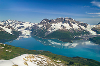 Aerial of Surprise glacier and Chugach mountains, Harriman Fjord, Prince William Sound, Alaska