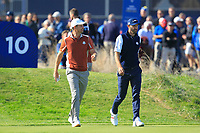 Justin Rose (Team Europe) and Dustin Johnson (Team USA) on the 10th during Saturday Foursomes at the Ryder Cup, Le Golf National, Ile-de-France, France. 29/09/2018.<br /> Picture Thos Caffrey / Golffile.ie<br /> <br /> All photo usage must carry mandatory copyright credit (&copy; Golffile | Thos Caffrey)
