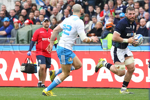 27.02.2016. Stadio Olimpico, Rome, Italy. RBS Six Nations Championships. Italy versus Scotland. BARCLAY JOHN runs in to score Scotland first try as he bats Padovani