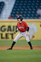 Erie SeaWolves center fielder Danny Woodrow (10) leads off during a game against the Harrisburg Senators on August 29, 2018 at FNB Field in Harrisburg, Pennsylvania.  Harrisburg defeated Erie 5-4.  (Mike Janes/Four Seam Images)