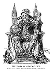 "The Irony of Circumstance. Mr. John Redmond. ""Well, if I can't rule in Dublin, I can here!"" (John Redmond sits as a king on a throne at the Houses of Parliament, carrying the orb of the British Constitution)"