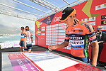 Nippo-Vini Fantini-Faizane at sign on before the start of Stage 4 of Il Giro di Sicilia 2019 running 119km from Giardini Naxos to Mount Etna (Nicolosi), Italy. 6th April 2019.<br /> Picture: LaPresse/Massimo Paolone | Cyclefile<br /> <br /> All photos usage must carry mandatory copyright credit (&copy; Cyclefile | LaPresse/Massimo Paolone)