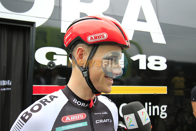 Sam Bennett (IRL) Bora-Argon 18 outside the team bus before the start of Stage 3 of the 2016 Tour de France, running 223.5km from Granville to Angers, France . 4th July 2016.<br /> Picture: Eoin Clarke | Newsfile<br /> <br /> <br /> All photos usage must carry mandatory copyright credit (&copy; Newsfile | Eoin Clarke)