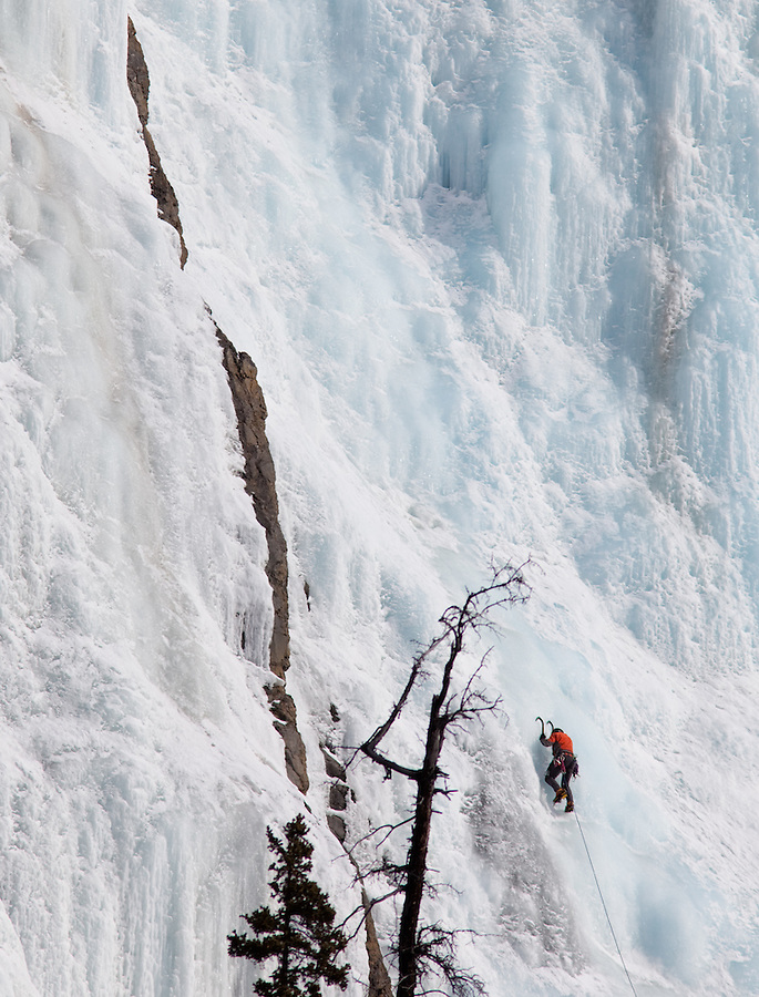 A single person is seen ascending a frozen waterfall in Alberta Canada while attached to a rope.