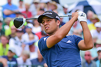 Xander Schauffele (USA) watches his tee shot on 1 during Saturday's round 3 of the 117th U.S. Open, at Erin Hills, Erin, Wisconsin. 6/17/2017.<br /> Picture: Golffile | Ken Murray<br /> <br /> <br /> All photo usage must carry mandatory copyright credit (&copy; Golffile | Ken Murray)
