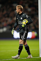 28th December 2019; London Stadium, London, England; English Premier League Football, West Ham United versus Leicester City; Goalkeeper Kasper Schmeichel of Leicester City  - Strictly Editorial Use Only. No use with unauthorized audio, video, data, fixture lists, club/league logos or 'live' services. Online in-match use limited to 120 images, no video emulation. No use in betting, games or single club/league/player publications