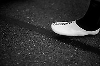 Adam Hansen's (AUS/Lotto-Soudal) super-customised / selfmade /superlight / carbon Hanseeno cycling shoes<br /> <br /> 104th Tour de France 2017<br /> Stage 3 - Verviers › Longwy (202km)