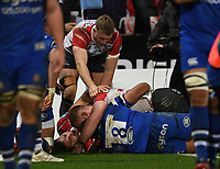 4th January 2020; Kingsholm Stadium, Gloucester, Gloucestershire, England; English Premiership Rugby, Gloucester versus Bath; Ruan Ackermann of Gloucester scores a try in the corner - Editorial Use