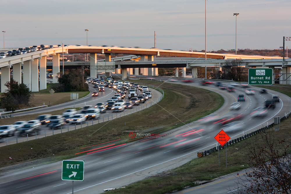 "Afternoon drivetime traffic fills the ""Spaghetti Junction"" Mopac exchange in northwest Austin, connects Highway 183, Mopac Loop 1 and Loop 360, the Capital of Texas Highway."