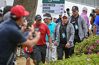 Fans grab cell phone pictures of Tiger approaching the tee on 18 during round 4 of the World Golf Championships, Mexico, Club De Golf Chapultepec, Mexico City, Mexico. 2/24/2019.<br /> Picture: Golffile | Ken Murray<br /> <br /> <br /> All photo usage must carry mandatory copyright credit (© Golffile | Ken Murray)