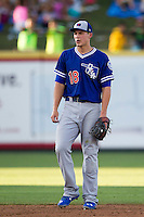 Oklahoma City Dodgers shortstop Corey Seager (18) during the Pacific Coast League baseball game against the Round Rock Express on June 9, 2015 at the Dell Diamond in Round Rock, Texas. The Dodgers defeated the Express 6-3. (Andrew Woolley/Four Seam Images)