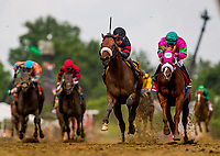 BALTIMORE, MD - MAY 19: Shaman Ghost # 6 with Javier Castellano defeats Dolphus #1 with Rajiv Maragh to win the Pimlico Special Stakes at Pimlico Race Course on May 19, 2017 in Baltimore, Maryland. (Photo by Alex Evers/Eclipse Sportswire/Getty Images)