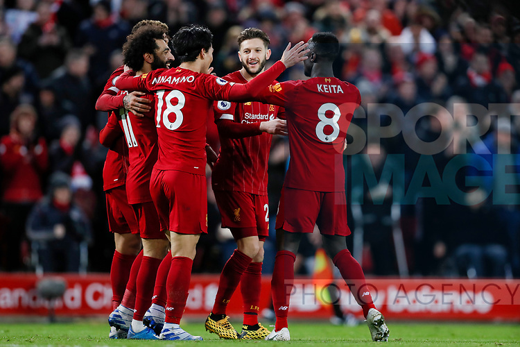 Mohamed Salah of Liverpool celebrates scoring the fourth goal of the game during the Premier League match at Anfield, Liverpool. Picture date: 1st February 2020. Picture credit should read: James Wilson/Sportimage