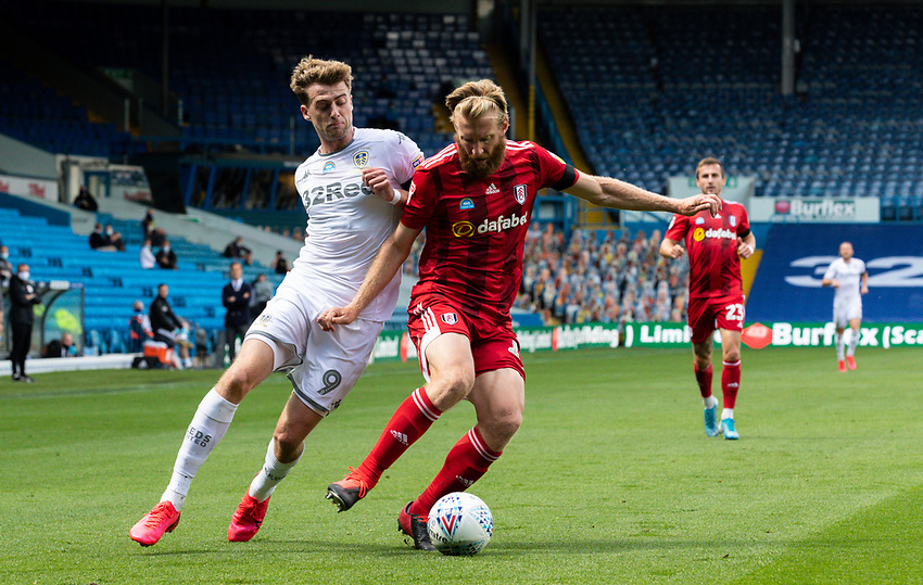 Leeds United's Patrick Bamford battles with Fulham's Tim Ream<br /> <br /> Photographer Alex Dodd/CameraSport<br /> <br /> The EFL Sky Bet Championship - Leeds United v Fulham - Wednesday 24th June 2020 - Elland Road - Leeds<br /> <br /> World Copyright © 2020 CameraSport. All rights reserved. 43 Linden Ave. Countesthorpe. Leicester. England. LE8 5PG - Tel: +44 (0) 116 277 4147 - admin@camerasport.com - www.camerasport.com<br /> <br /> Photographer Alex Dodd/CameraSport<br /> <br /> The Premier League - Newcastle United v Aston Villa - Wednesday 24th June 2020 - St James' Park - Newcastle <br /> <br /> World Copyright © 2020 CameraSport. All rights reserved. 43 Linden Ave. Countesthorpe. Leicester. England. LE8 5PG - Tel: +44 (0) 116 277 4147 - admin@camerasport.com - www.camerasport.com
