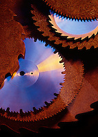 Shiny new circular saw blades contrast with old rusty blades