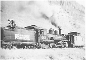 RGS K-27 #461 with caboose #0400 pulling up track with winch on tender.<br /> RGS  Coke Ovens, CO  Taken by Ronfor, Philip A. - 9/16/1952