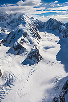 Aerial of the Kahiltna Glacier and mountaineering base camp, Denali, Denali National Park, Alaska