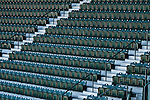Safeco Field with rows of green stadium seats empty before the game