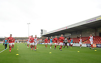 Fleetwood Town during the pre-match warm-up <br /> <br /> Photographer Kevin Barnes/CameraSport<br /> <br /> The EFL Sky Bet Championship - Fleetwood Town v AFC Wimbledon - Saturday 10th August 2019 - Highbury Stadium - Fleetwood<br /> <br /> World Copyright © 2019 CameraSport. All rights reserved. 43 Linden Ave. Countesthorpe. Leicester. England. LE8 5PG - Tel: +44 (0) 116 277 4147 - admin@camerasport.com - www.camerasport.com