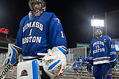 Bailey MacBurnie (UMB - 1), Albee Daley (UMB - 15) - The UMass Boston Beacons defeated the Babson College Beavers 5-1 on Thursday, January 12, 2017, at Fenway Park in Boston, Massachusetts.