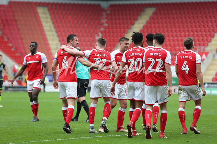 ROTHERHAM VS BRISTOL ROVERS<br /> New York Stadium, Saturday 21ST April 2018 <br /> <br /> Caolan Lavery Celebrates scoring Goal Number 2 for the Millers against Rovers.<br /> <br /> Picture - Alex Roebuck / www.alexroebuck.co.uk