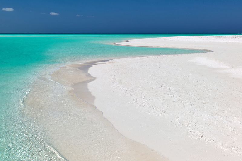 Shoreline of Fort George Cay, an uninhabited island. Turks and Caicos.