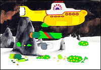 BNPS.co.uk (01202 558833)<br /> Pic: HeritageAuctions/BNPS<br /> <br /> ***Please use full byline***<br /> <br /> Original acetate of the Yellow Submarine.<br /> <br /> All aboard - A psychedelic snapshot of the swinging sixties is coming up for auction...<br /> <br /> An amazing archive of the original cartoons from the Beatles' surreal animation film Yellow Submarine has emerged for sale for &pound;125,000.<br /> <br /> The collection boasts hand-painted scenes from the iconic 1968 adventure in which the Fab Four travel in the Yellow Submarine to Pepperland to save it from the Blue Meanies.<br /> <br /> Experts have tipped the 80 drawings, each measuring 13.75ins by 10ins, to fetch &pound;125,000 when they go under the hammer in individual lots at Heritage Auctions in Beverly Hills, California.