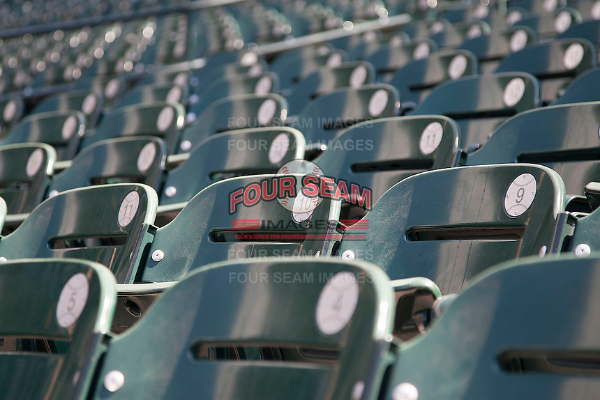 Minute Maid Park seats before the NCAA baseball game on March 2nd, 2013 at Minute Maid Park in Houston, Texas. (Andrew Woolley/Four Seam Images).