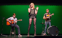 Random Strangers perform. Occidental College students perform at the annual Apollo Night talent show, hosted by the Black Student Alliance, in Thorne Hall, Friday, Feb. 21, 2014. 15 acts performed a variety of music and dance. (Photo by Marc Campos, Occidental College Photographer)