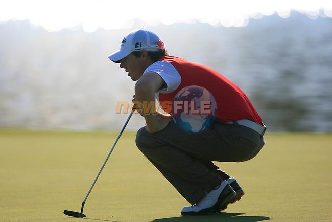 Rory McIlroy (N.IRL) lines up his putt on the 4th green during the morning session on Day 3 of the Volvo World Match Play Championship in Finca Cortesin, Casares, Spain, 21st May 2011. (Photo Eoin Clarke/Golffile 2011)