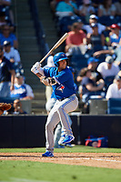 Toronto Blue Jays shortstop Kevin Smith at bat during a Grapefruit League Spring Training game against the New York Yankees on February 25, 2019 at George M. Steinbrenner Field in Tampa, Florida.  Yankees defeated the Blue Jays 3-0.  (Mike Janes/Four Seam Images)