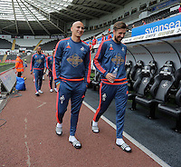 Pictured L-R: Jonjo Shelvey and  of Swansea arrive Sunday 30 August 2015<br /> Re: Premier League, Swansea v Manchester United at the Liberty Stadium, Swansea, UK