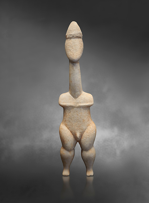 Cycladic statue figurine of the naturalistic 'Plastira' type of Paros. Early Cycladic Period I (Grotta-Pelos Phase 3200-2800 BC). National Archaeological Museum, Athens.   Gray background.<br /> <br /> <br /> This type of Cycladic figurine stand with feet lat to the ground with detailed facial features and ears to make a more realistic statue. This statue is of a hunter or warrior as it bears an incised weapon strap across its chest and holds a knife.
