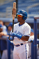 Dunedin Blue Jays left fielder Rodrigo Orozco (3) on deck during a game against the Daytona Tortugas on April 22, 2018 at Dunedin Stadium in Dunedin, Florida.  Daytona defeated Dunedin 5-1.  (Mike Janes/Four Seam Images)