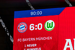09.03.2019, Allianz Arena, Muenchen, GER, 1.FBL,  FC Bayern Muenchen vs. VfL Wolfsburg, DFL regulations prohibit any use of photographs as image sequences and/or quasi-video, im Bild Endstand auf der Anzeigetafel 6-0<br /> <br />  Foto &copy; nordphoto / Straubmeier