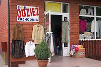 Clothing displayed outside shop.  Rawa Mazowiecka  Central Poland