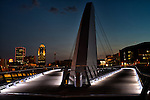 Nightfall at the pedestrian bridge in downtown Des Moines, Iowa.