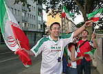 16 June 2006: Iran fans show their colors at FIFA Fan Fest, the day before their game against Portugal, in Frankfurt, site of several games during the FIFA 2006 World Cup.