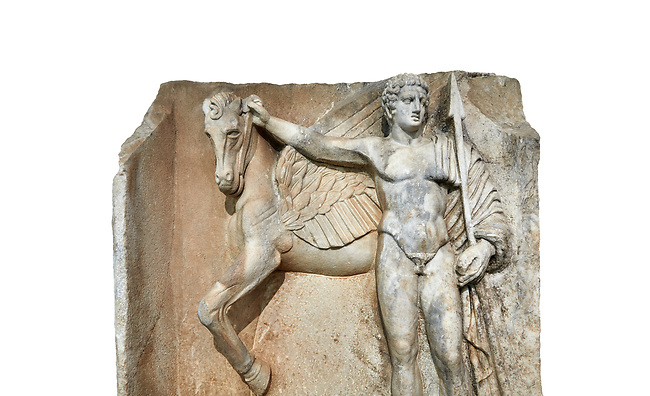 "Close up of a Roman Sebasteion relief  sculpture of  Bellerophon Aphrodisias Museum, Aphrodisias, Turkey.    Against a white background.<br /> <br /> Bellerophon was a Lykian hero and was claimed as a founder of Aphrodisias. He holds his winged horse Pegasos. The deign was modelled on another relief panel in the series ""Royal hero with Dod Hunting"". The carving is poor and the sculptor may have been a novice.modelled"