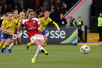 Danielle van de Donk of Arsenal Women scores the second goal from the penalty spot during Arsenal Women vs Birmingham City Ladies, FA Women's Super League Football at Meadow Park on 4th November 2018