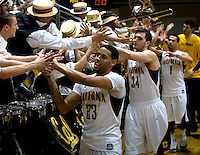 Allen Crabbe of California celebrates with the fans after winning the game against USC at Haas Pavilion in Berkeley, California on February 17th, 2013.  California defeated USC, 76-68.