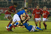 Wales U20''s Jordan Walters is tackled by Italy U20's Filipo Di Marco<br /> <br /> Photographer Richard Martin-Roberts/CameraSport<br /> <br /> Six Nations U20 Championship Round 4 - Wales U20s v Italy U20s - Friday 9th March 2018 - Parc Eirias, Colwyn Bay, North Wales<br /> <br /> World Copyright &not;&copy; 2018 CameraSport. All rights reserved. 43 Linden Ave. Countesthorpe. Leicester. England. LE8 5PG - Tel: +44 (0) 116 277 4147 - admin@camerasport.com - www.camerasport.com