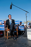 Republican presidential candidate Mitt Romeny speaks with Fox news after former vice president and one-time presidential candidate Dan Quayle endorsed Romney in his run for the GOP nomination for President of the United States. Romney and Quayle made the announcement at the Hermosa Inn in Paradise Valley Arizona.