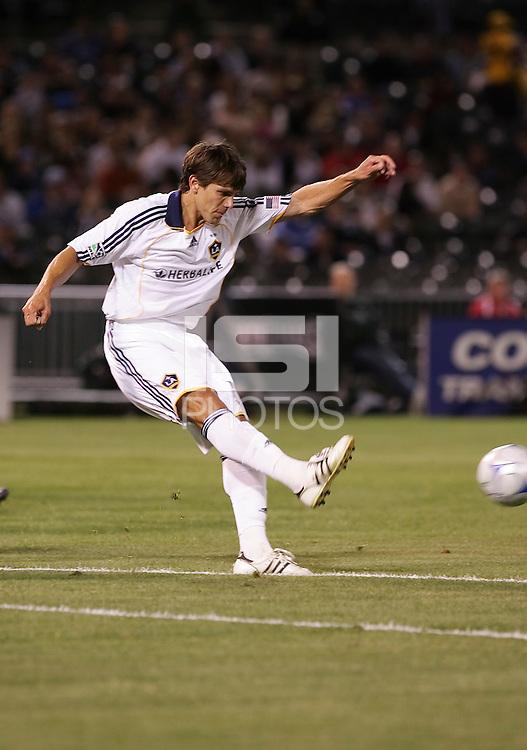 Stefani Miglioranzi kicks the ball. San Jose Earthquakes tied Los Angeles Galaxy 1-1 at the McAfee Colisum in Oakland, California on April 18, 2009.