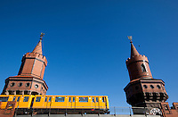 24 AUG 2009 - BERLIN, GER - A U Bahn train passes over the Oberbaumbrucke (PHOTO (C) NIGEL FARROW)