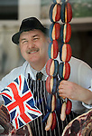 Butcher Arthur Howell from Wells Next the Sea, Norfolk is celebrating the Queen's diamond Jubilee year with his specially produced home made red White and blue Sausages.What better way to commemorate the Queen's special year than with the iconic great British banger?..
